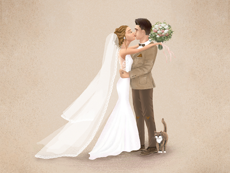 a wedding couple is kissing